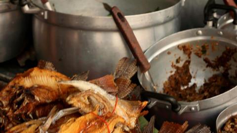 Crispy Fried Fish on Streets of Pattaya Thailand Stock Video Footage
