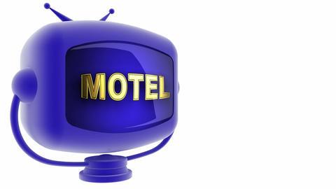 tv motel blule Stock Video Footage