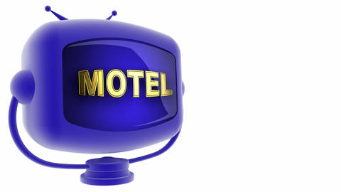 tv motel blule Stock Video Footage