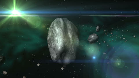 Space Meteor & Asteroid Belt Stock Video Footage