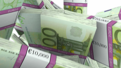 Y-shaped 100 Euro bundles flow with slow motion. Wealth and money Animation
