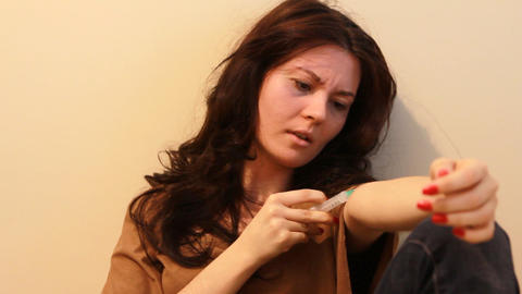 woman giving an injection 2 Stock Video Footage