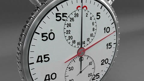 CU Silver Stop Watch CG 30 Second Stock Video Footage