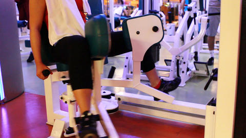 girl riding bicycle in a gym Stock Video Footage