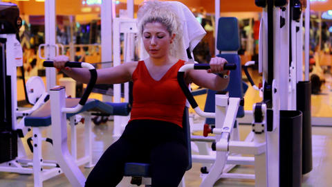 girl doing sports in a gym 20 Stock Video Footage