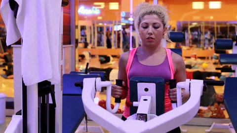 girl doing sports in a gym 11 Stock Video Footage