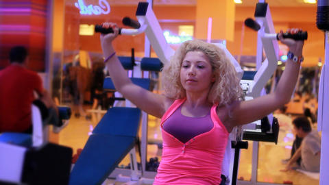 girl doing sports in a gym 13 Stock Video Footage