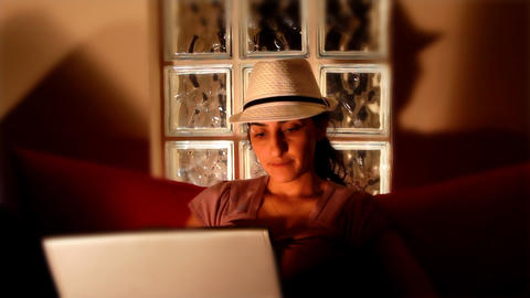 young woman on computer Footage