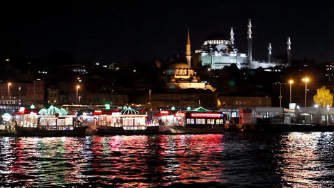 istanbul view from eminonu at night 2 Footage