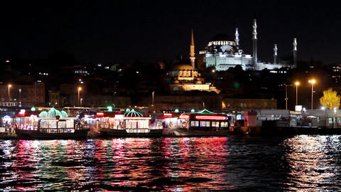 istanbul view from eminonu at night 2 Stock Video Footage
