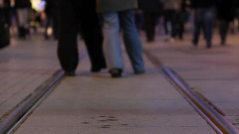 crowd walking at night 2 Stock Video Footage