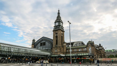 4K hamburg central station entrance and clock towe Footage