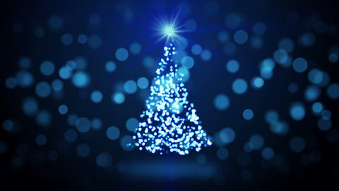blue christmas tree blurred lights loopable Animation