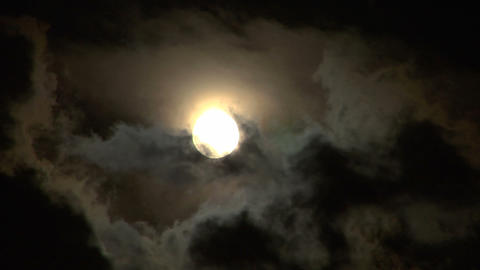 moon stormy closeup 01 Stock Video Footage