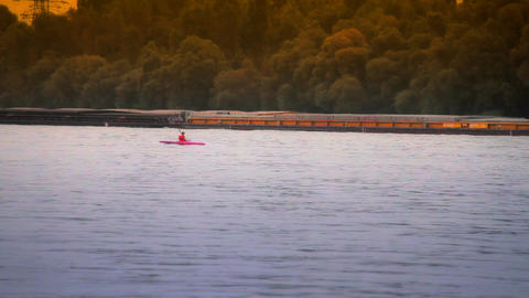 BargeMaster and kayakers ARTCOLORED 03 Stock Video Footage