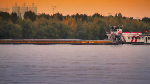 BargeMaster on river Timelapse ARTCOLORED 01 Stock Video Footage