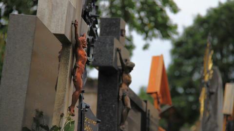 Cemetery Crosses Stock Video Footage