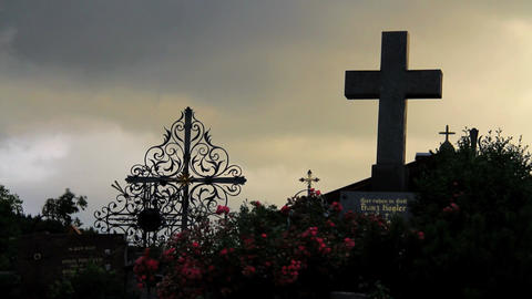 Cemetery With Clouds Stock Video Footage