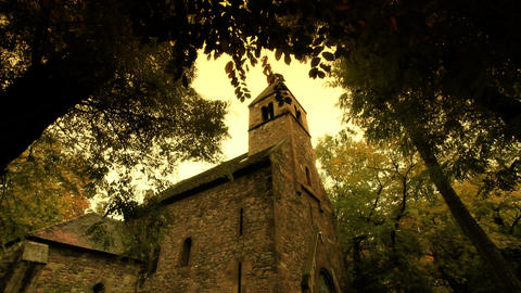 Chapel At Fall ARTCOLORED 02 Pans Stock Video Footage