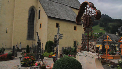 Church Cemetery in The Alps Pan Stock Video Footage