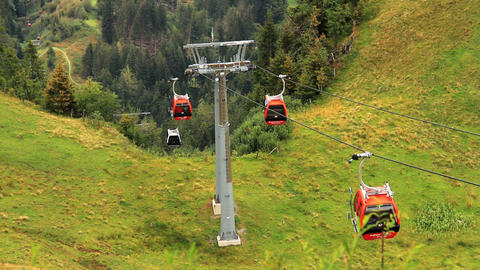 In The Alps 17 Ski Lift 3in1 Stock Video Footage