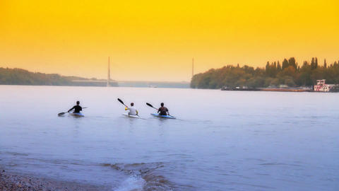 Kayakers ARTCOLORED 01 Stock Video Footage