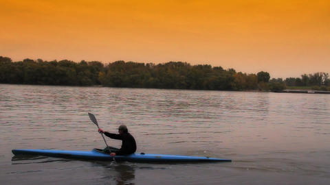 Kayaker ARTCOLORED 01 Stock Video Footage