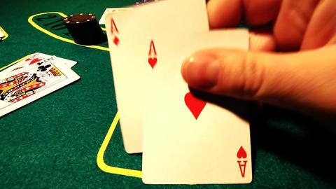 Poker 77 showdown Stock Video Footage