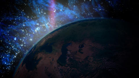 EarthV1 HDPlanet Earth with Sunrise in the Universe Stock Video Footage