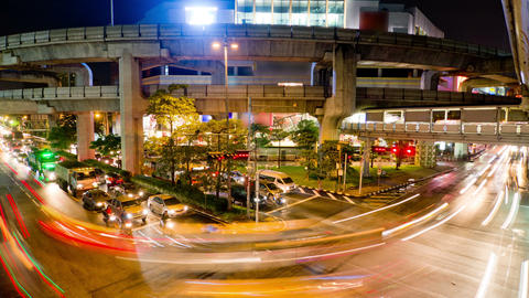 Bangkok traffic 2 time lapse Stock Video Footage
