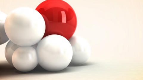 White and Red spheres animated. Abstract background Stock Video Footage