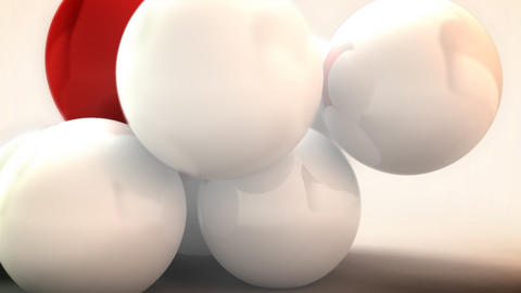 White and Red spheres animated. Abstract background Footage
