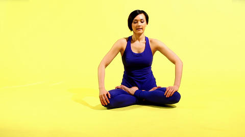 happy woman prepare for yoga training on white Stock Video Footage