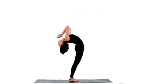 Young woman make yoga training on white Stock Video Footage