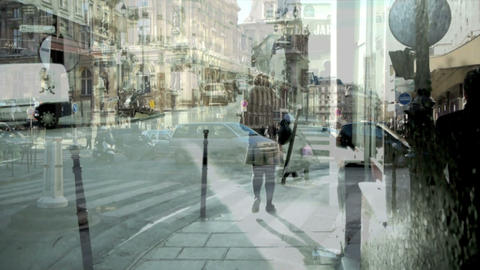 City double exposure Stock Video Footage