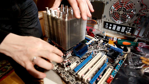 Install cooler on main board Stock Video Footage