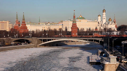Moscow Kremlin river at winter sunset Stock Video Footage