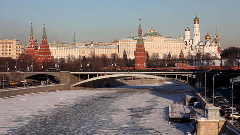 Moscow Kremlin river at winter sunset Footage