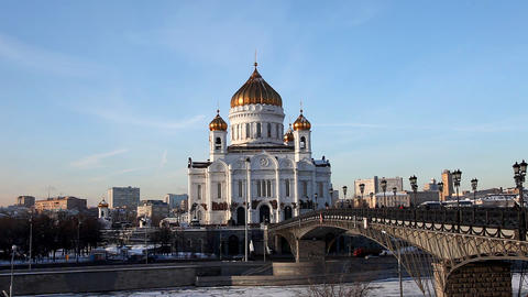 Temple of Christ the Saviour at winter sunset Stock Video Footage