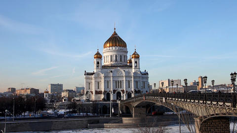 Temple of Christ the Saviour at winter sunset Footage