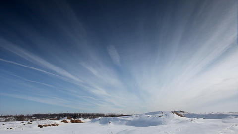 Cloudscape time lapse on winter desert Stock Video Footage