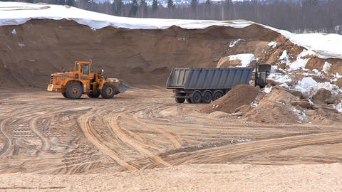 bulldozer on winter sandpit time lapse Footage