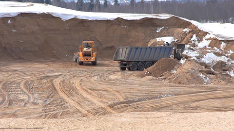 bulldozer on winter sandpit time lapse Stock Video Footage