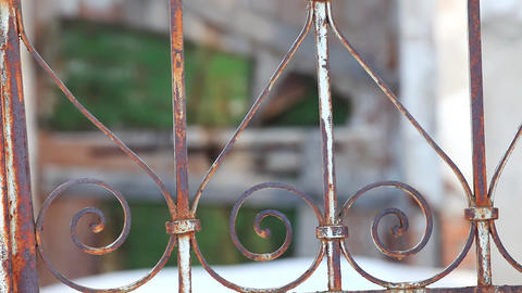 Focus on rusty fence Stock Video Footage
