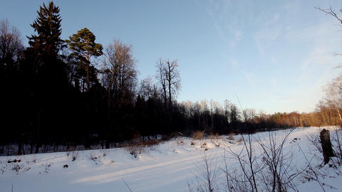 Sunset on snow forest time lapse Stock Video Footage