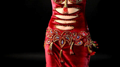 woman Belly dance in red- look and smile Footage