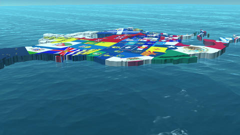 3D HD USA with State Flags in the Sea Close Up Animation