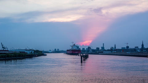 Hamburg skyline with harbor - view from the elbe b Footage