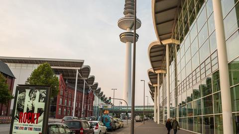 4K Hamburg Messehallen - TV tower in the evening - Footage