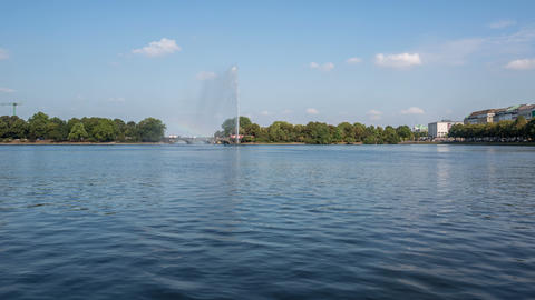 Hamburg Alster Lake With Tourist Ships - DSLR Time stock footage